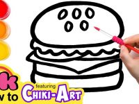 Glitter Burger to Learn Colors for kids, How To Draw, Paint & Learn Colors for kids children 27
