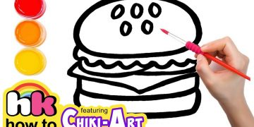 Glitter Burger to Learn Colors for kids, How To Draw, Paint & Learn Colors for kids children 14