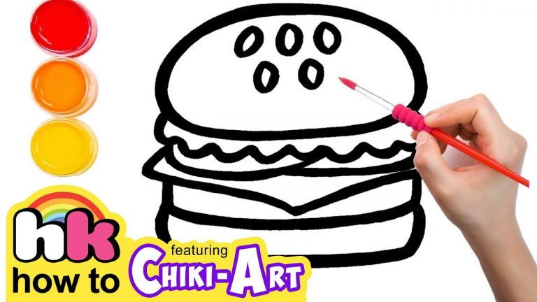 Glitter Burger to Learn Colors for kids, How To Draw, Paint & Learn Colors for kids children 1