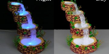 Waterfall from hot glue gun // Waterfall Showpiece for home decoration // Fountain Night Lamp 19