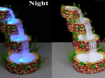 Waterfall from hot glue gun // Waterfall Showpiece for home decoration // Fountain Night Lamp 5