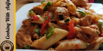 Chicken Tikka Pasta Recipe by Cooking with Asifa
