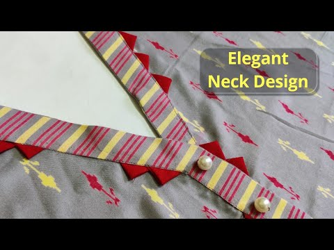 Kurti Front Neck Design with V Placket Easy Cutting and Stitching    Placket Kurti@RR Fashion Point 1