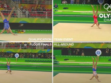 All of Max Whitlock's Floor Routines, at the same time! | Olympic Memories