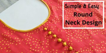 Attractive Kurti Neck Design with Placket and Potli Buttons    Kurti Front Neck Design 20