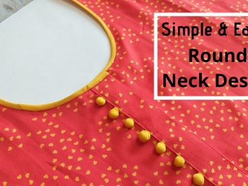 Attractive Kurti Neck Design with Placket and Potli Buttons || Kurti Front Neck Design 14