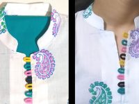 New Collar Neck Design / Placket / Loops / Easy Cutting and Stitching (neck design) 15