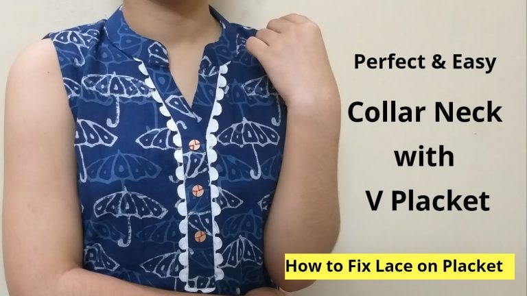 Collar Kurti Neck Design With V Placket || Neck Design || Easy cutting and stitching 1