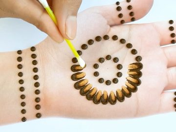 Easy Simple Mehndi design - cotton bud Mehendi design front hand - Arabic Mehndi Design 2020 12