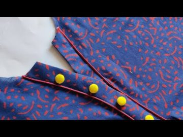 Latest and Simple V Placket Kurti Front Neck Design Cutting and Stitching | V Placket Neck Design 9