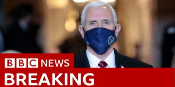 Departing vice-president Mike Pence arrives - BBC News