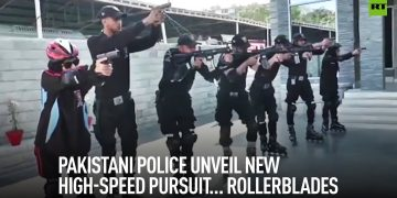 Armed police on rollerblades - Pakistan's new weapon against crime