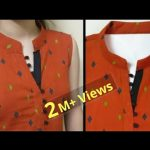 Collar Kurti Front Neck Design With V Placket || Neck Design || Easy Cutting and Stitching 1
