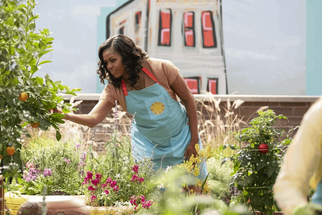 Michelle Obama standing in front of a flower: On a rooftop garden, Michelle Obama, leans over to inspect the oranges on a nearby tree. (Adam Rose/Netflix)