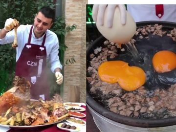 Turkish Chef Uses Ostrich Eggs For Giant Food Creations 2019