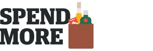Illustration of paper bag containing alcohol bottles and cigarettes with quote: 'Spend more'