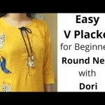Easy V Placket with Round Neck Design//Neck Design//Dori Piping #Beginners 7