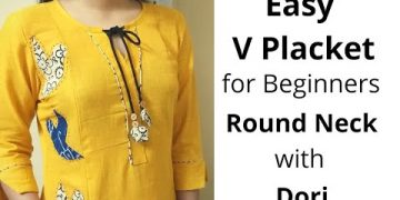 Easy V Placket with Round Neck Design//Neck Design//Dori Piping #Beginners 15