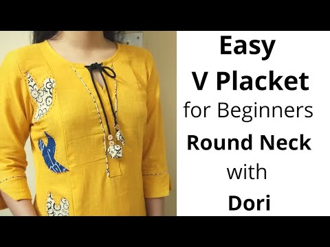 Easy V Placket with Round Neck Design//Neck Design//Dori Piping #Beginners 1