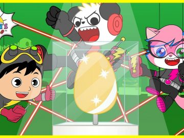Super Spy Kids with Ryan and Combo Panda for the Golden Egg! |Cartoon animation for Kids! 6
