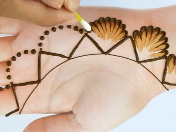 Beautiul Mehndi design with cotton bud for Eid - Easy Simple Mehendi design for front hands 11