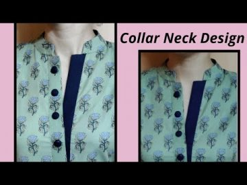 Unique Collar Neck Design with Placket || Easy Cutting and Stitching @RR Fashion Point 8