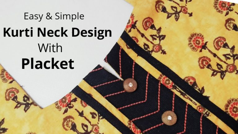 Simple & Easy Kurti Neck Design with Placket /Beginners/DIY 1