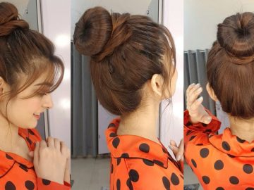 Round Hair Bun || 2 Minutes Quick Hairstyle || Trendy Hairstyle For Summers 4