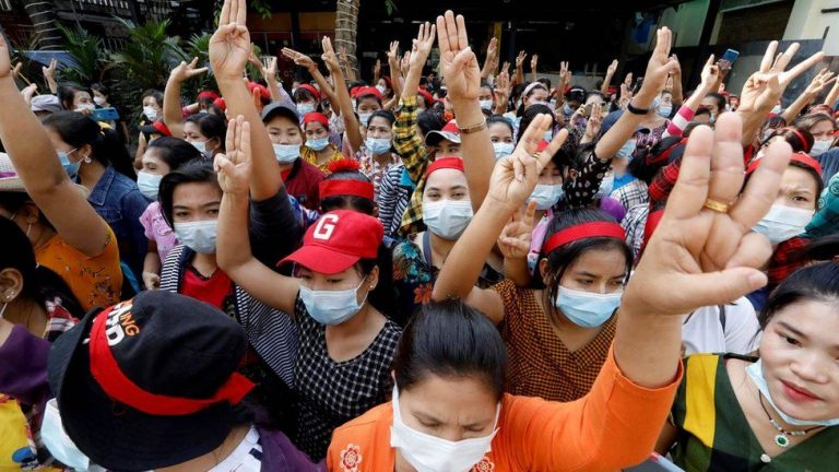 Myanmar coup: Internet shutdown as crowds protest against military 1