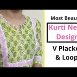 VERY EASY FRONT NECK DESIGN with V PLACKET & LOOPS/KURTI/SUIT/KAMEEZ 1