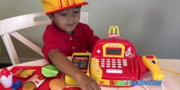 Ryan Pretend Plays with McDonald's Toys and Power Wheels 14