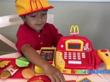 Ryan Pretend Plays with McDonald's Toys and Power Wheels 5