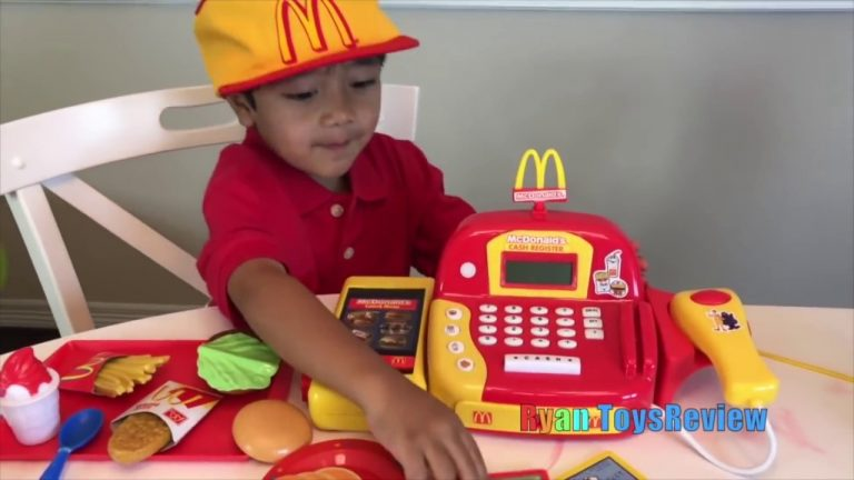 Ryan Pretend Plays with McDonald's Toys and Power Wheels 1
