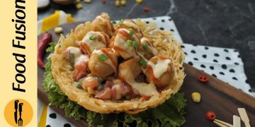 Potato Chicken Cheeseball Nest Recipe by Food Fusion
