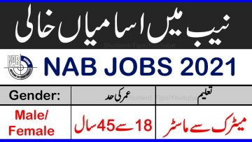 New NAB Jobs 2021, National accountability Bureau Jobs 2021 , Download Application form