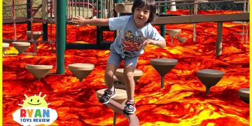 The floor is Lava challenge Family Fun Kids Pretend playtime 4
