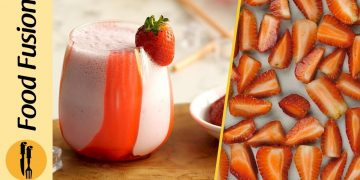 Freezing Strawberries & Making a Perfect Strawberry Shake Recipe by Food Fusion
