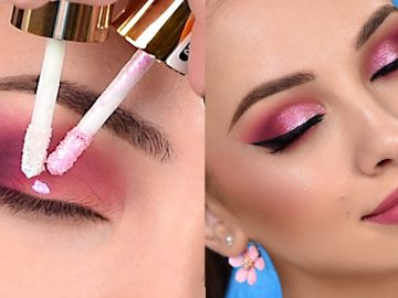 Pink Sparkly Smokey Eye Makeup Tutorial