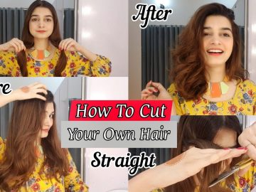 How To Cut Your Own Hair Straight || Front Layers 4