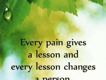 Every Pain gives a lesson. 10