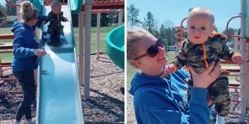 Epic mom fail: Baby hits his head going down slide