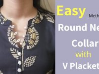 Perfect Collar Neck With V Placket || Neck Design || Easy Cutting and Stitching / Full Tutorial 7