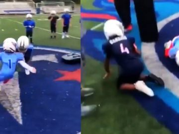 This Tackle Between 2 Kids Looks Like an NFL Game Clip
