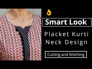 Very Easy Placket Kurti Front Neck Design || Neck Design Cutting and Stitching 9