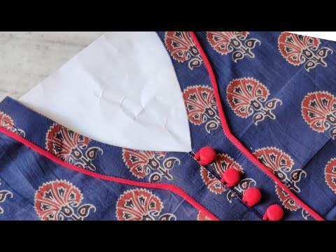 Easy Kurti Front Neck Design with Button Placket Cutting and Stitching | Neck Design 1