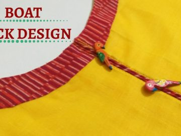 Boat Neck with Piping Placket Cutting and Stitching / Beginners / DIY 13
