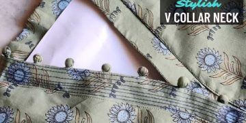 Latest V Collar Neck Design with Placket Easy Cutting and Stitching @RR Fashion Point 15