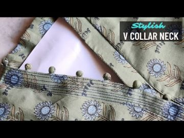 Latest V Collar Neck Design with Placket Easy Cutting and Stitching @RR Fashion Point 17