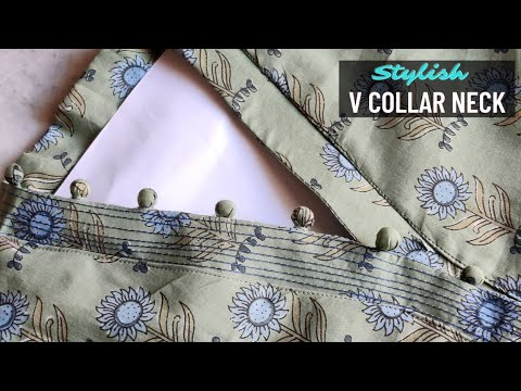 Latest V Collar Neck Design with Placket Easy Cutting and Stitching @RR Fashion Point 1