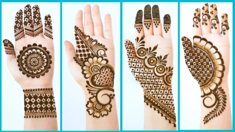Top 4 Easy Stylish Simple Mehndi designs - Beautiful Mehendi design for front hands - Henna designs 1